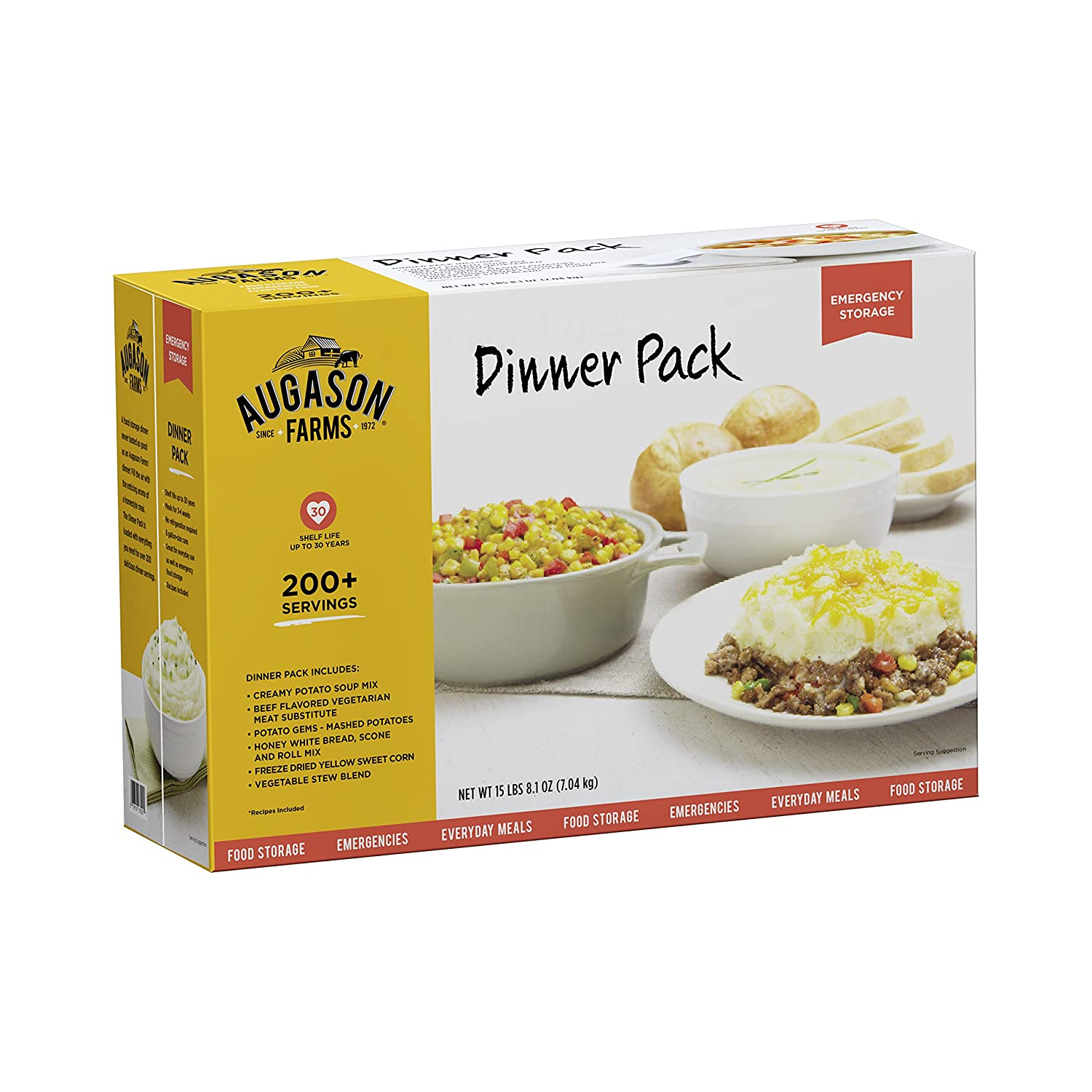 Amazon augason farms dinner pack emergency food storage kit 15 amazon augason farms dinner pack emergency food storage kit 15 lbs 81 oz camping freeze dried food sports outdoors forumfinder Image collections