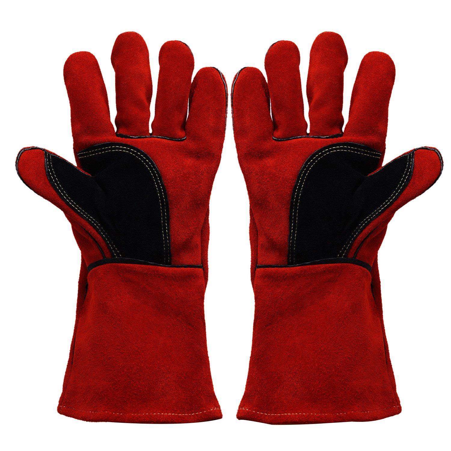 BHIVES Heavy Duty Heat and Fire Resistant Gloves Perfect for Gardening/Oven/Grill/Mig/Fireplace/Stove/Pot Holder/ Tig Welder/Animal Handling/BBQ,14 Inch Long(Red)