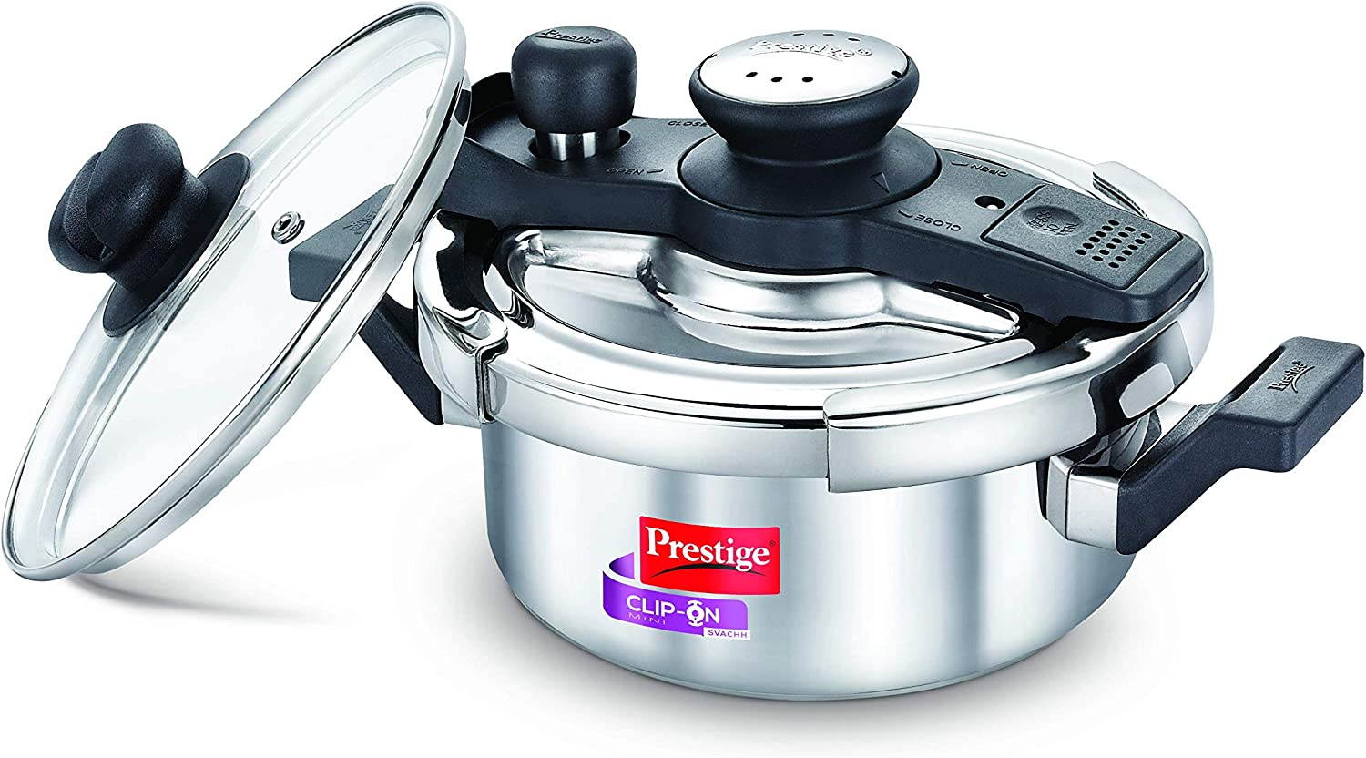 Prestige Svachh Clip-on Mini Stainless Steel 2 Litre Pressure Cooker