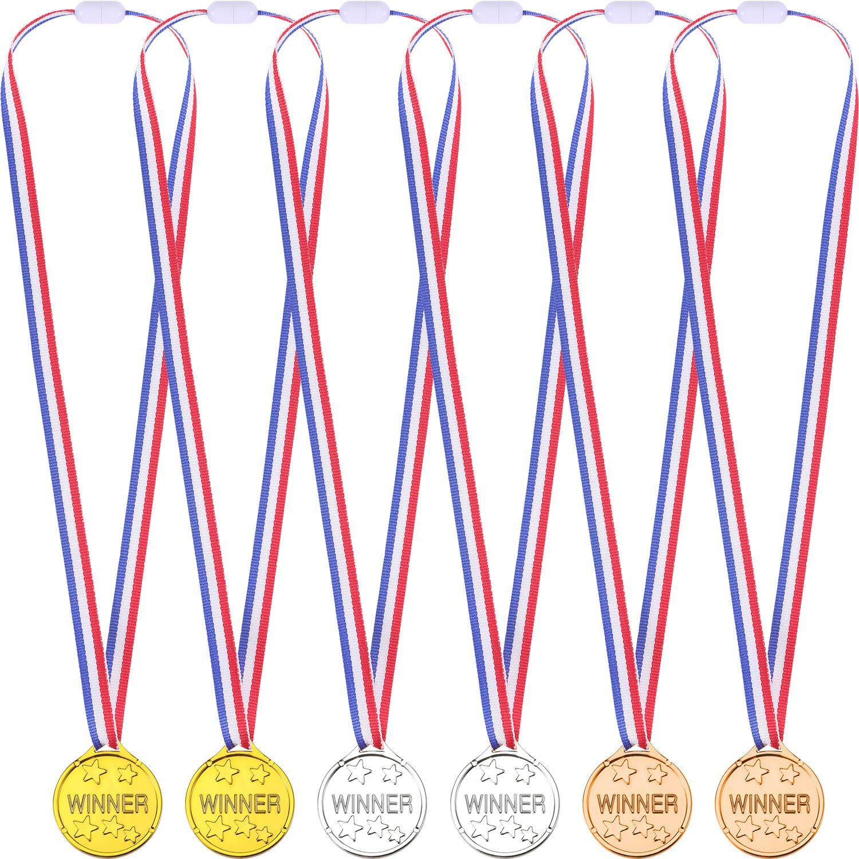36 Pezzi Bambini Medaglie del Vincitore Plastica Oro e Argento e Bronzo Medaglie Premio Vincitore, Ogni Confezione di 12 Colori Blulu