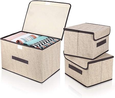 DIMJ Cajas Almacenaje con Tapa, Conjunto de 3 Cajas Organizadoras Plegable, Cubos de Almacenamiento con Asa, Organizadores de Contenedore para Ropa Juguetes Libros (Beige): Amazon.es: Hogar