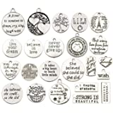 WOCRAFT 40pcs Inspiration Words Charms Craft Supplies Beads Charms Pendants for Jewelry Making Crafting Findings…