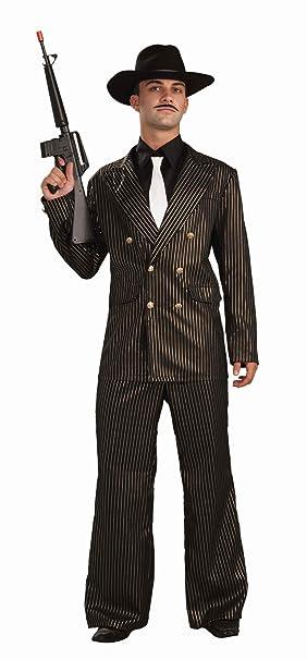 Amazon.com: Forum Gangster traje de oro, talla única , Negro ...