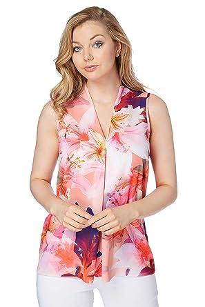 2c12cc812e158f Roman Originals Women's Tropical Floral Print V-Neck Top - Ladies Going Out Blouse  Tops