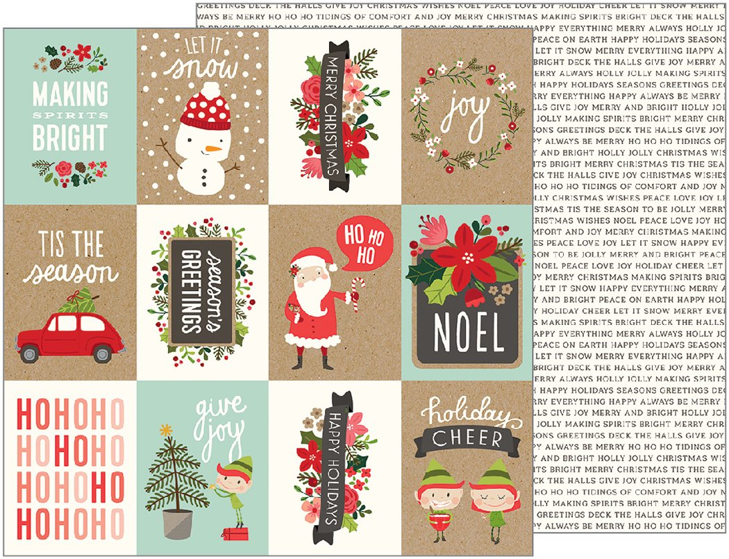 American Crafts Holly Jolly Christmas Double Sided Paper Happy Holidays 12X12