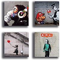 Quadri Moderni BANKSY murales 4 pezzi Stampa su Tela CANVAS Arredamento Arte Astratto XXL Arredo soggiorno salotto camera da letto cucina ufficio bar ristorante printerland.it (4 pezzi 30x30 cm cad.)
