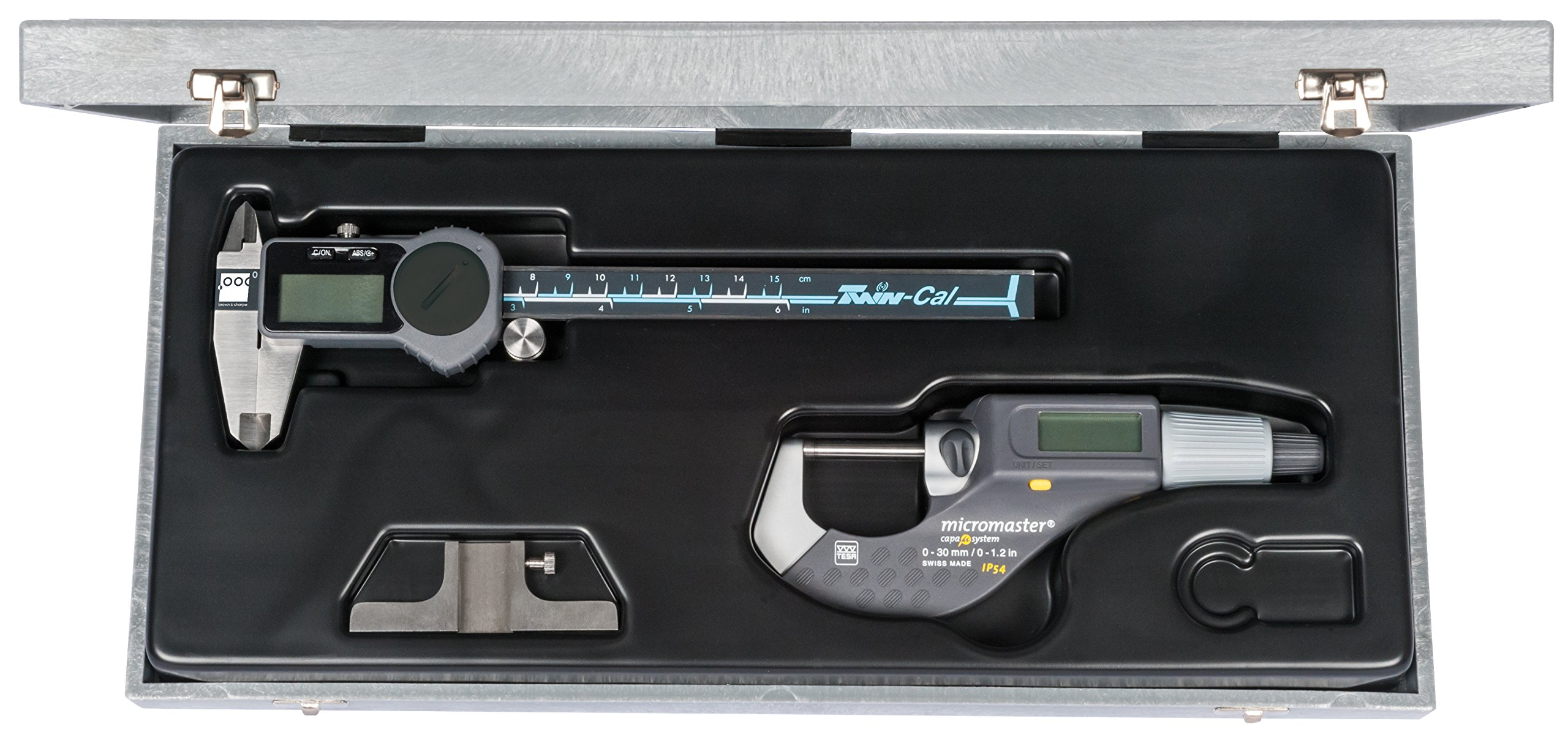 Brown & Sharpe 00591007 3 Piece Digital Electronic Precision Tool Set with Shop-Cal Caliper
