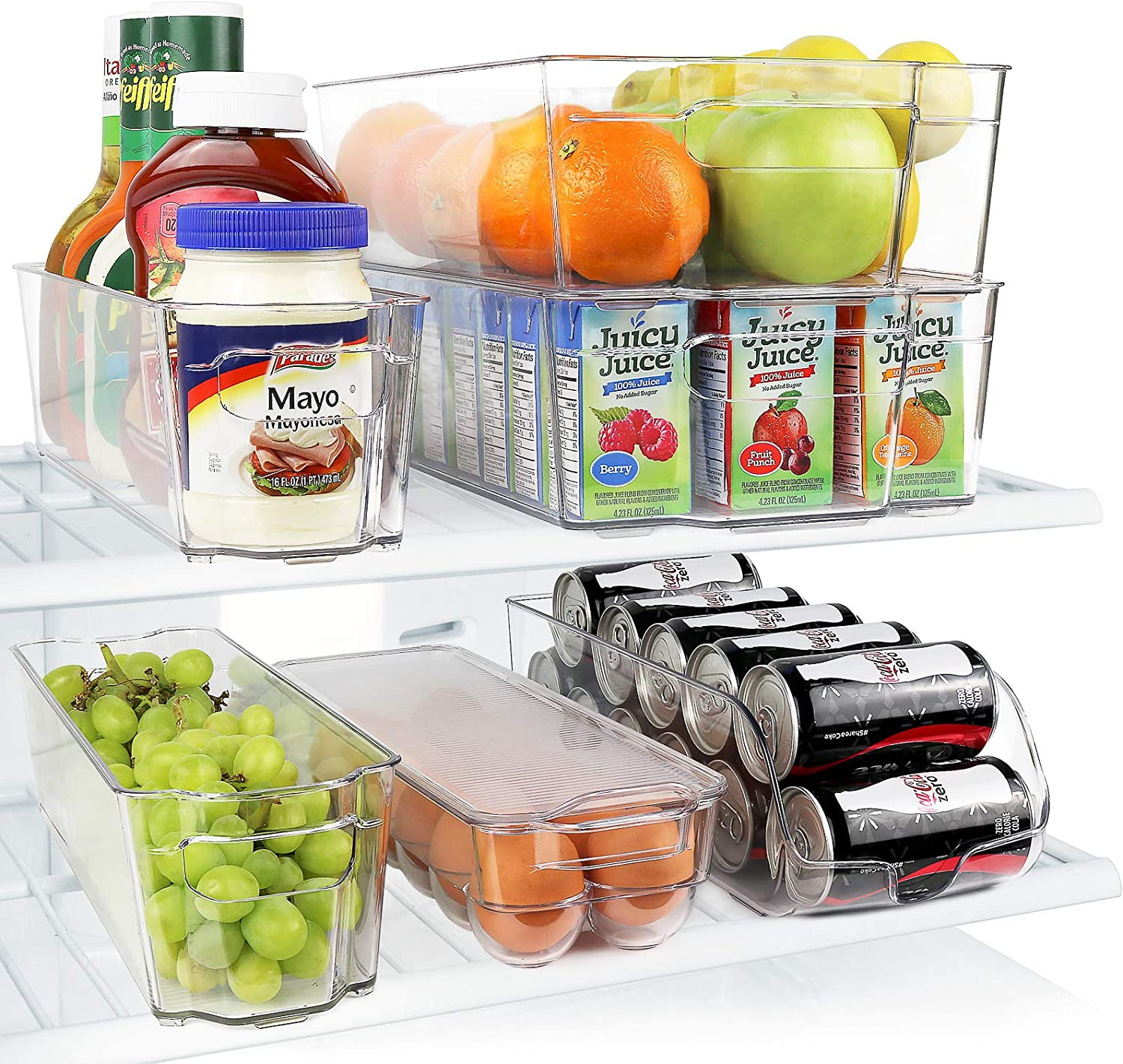 Greenco Fridge Bins, Stackable Storage Organizer Containers with Handles for Refrigerator, Freezer, Pantry and Kitchen Cabinets, BPA, Standard, Clear: Kitchen & Dining