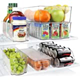 Greenco Fridge Bins, Stackable Storage Organizer Containers with Handles for Refrigerator, Freezer, Pantry and Kitchen…