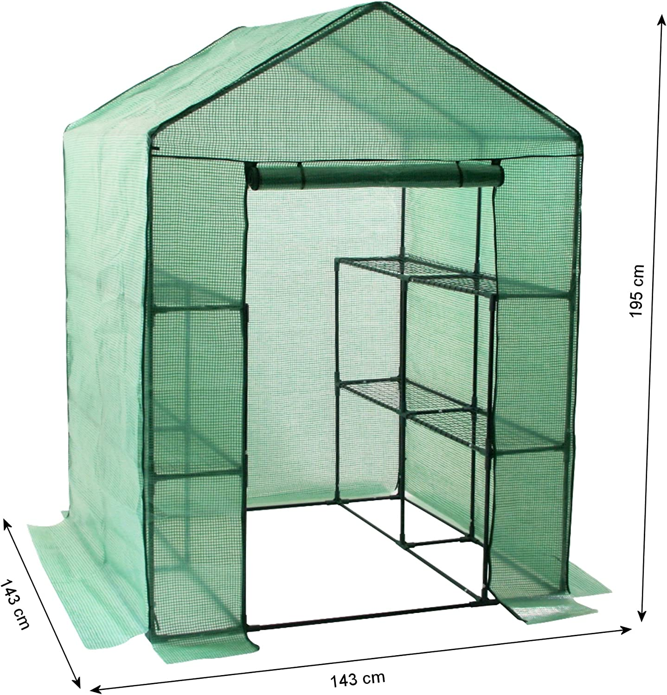 Gewächshaus begehbar mit Regal 143x143 cm Foliengewächshaus PE Folien Treibhaus
