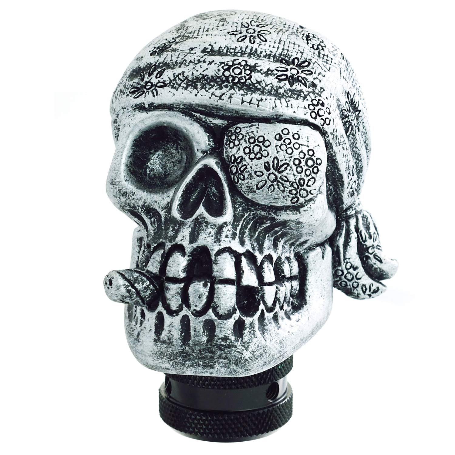 Silver Lunsom Pirate Skull Stick Gear Knob One Eye Car Shift Transmission Head Shifter Lever Handle Fit Universal Automatic Manual Vehicle
