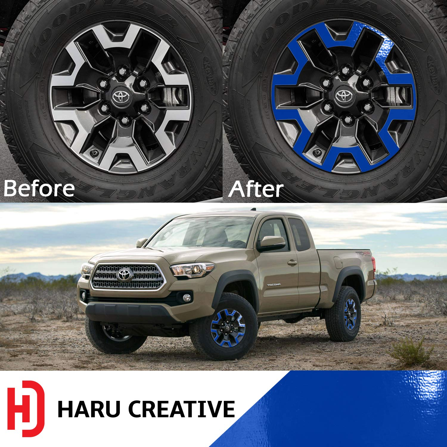 Haru Creative Gloss Orange Wheel Rim Overlay Vinyl Decal Sticker Compatible with and Fits Toyota Tacoma TRD Off Road 2016-2018