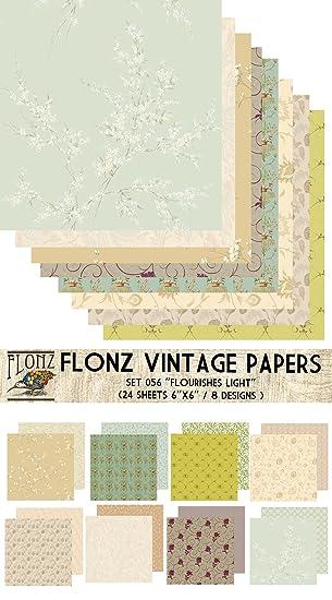 Paper Pack (24blatt 15x15cm) Light Flowers FLONZ Vintage Muster ...