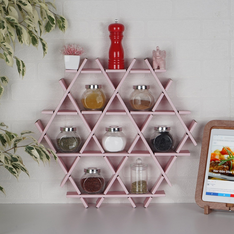 LaModaHome Cardboard Shelf 100% Corrugated Cardboard (20.5'' x 18.9'' x 2.8'') Pink Triangle Hexagon Kitchen Decorative Design Storage Shelf Multi Purpose