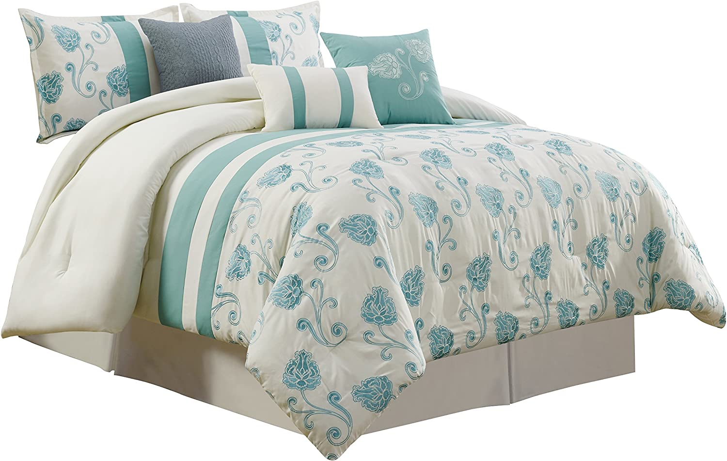 Queen Chezmoi Collection Calais 7-Piece Ivory Teal Floral Embroidered Comforter Set