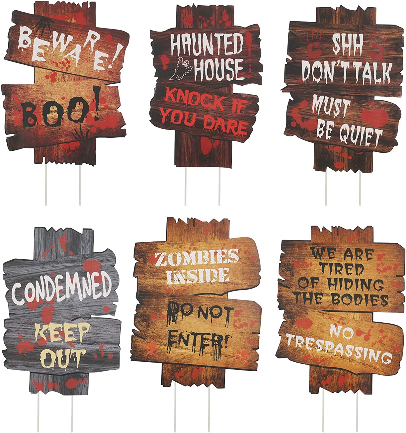 KATOOM 6 Pcs Halloween Beware Signs Yard Stake Lawn Decorations Outdoor Plastic Horror Warning Props Scary Bloody Roadside Guide for Zombie Vampire Graves Garden Decor Supplies
