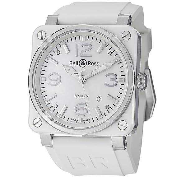 dda605600 Amazon.com: Bell & Ross Aviation Mens White Rubber Strap Automatic ...
