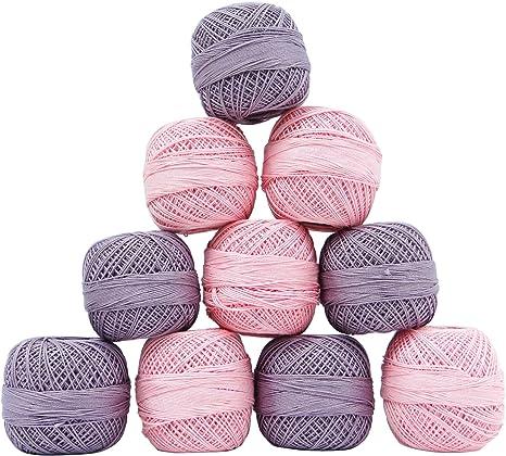 IBA Indianbeautifulart Conjunto de 10 Piezas de Ganchillo del algodón Hilado madeja de Hilo de Rosca de la Bola de Tejer Bordado: Amazon.es: Hogar