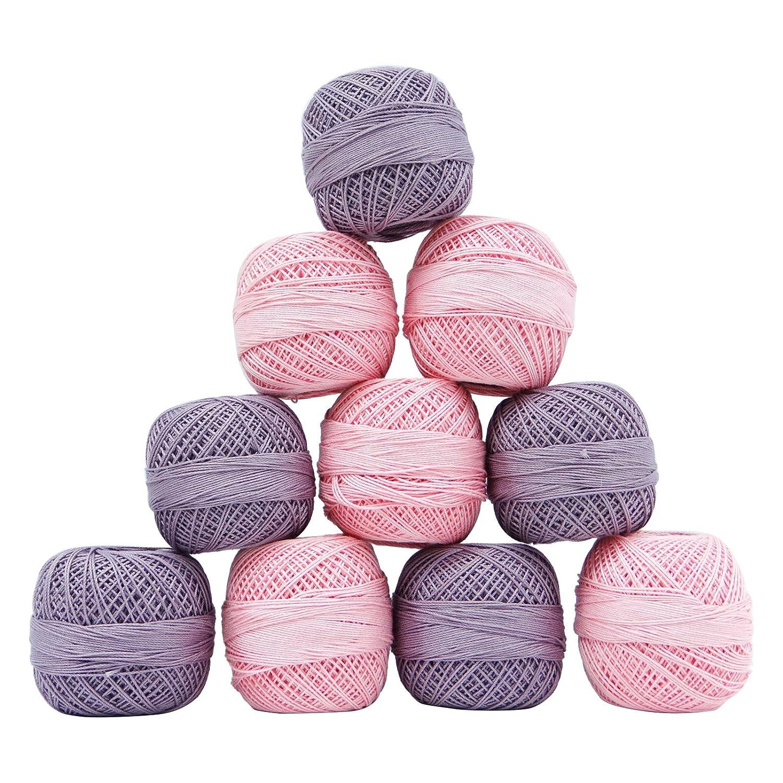 Gomitoli in cotone, set da ricamo da 10 pezzi, gomitolo di filato per uncinetto Pink Knitwit