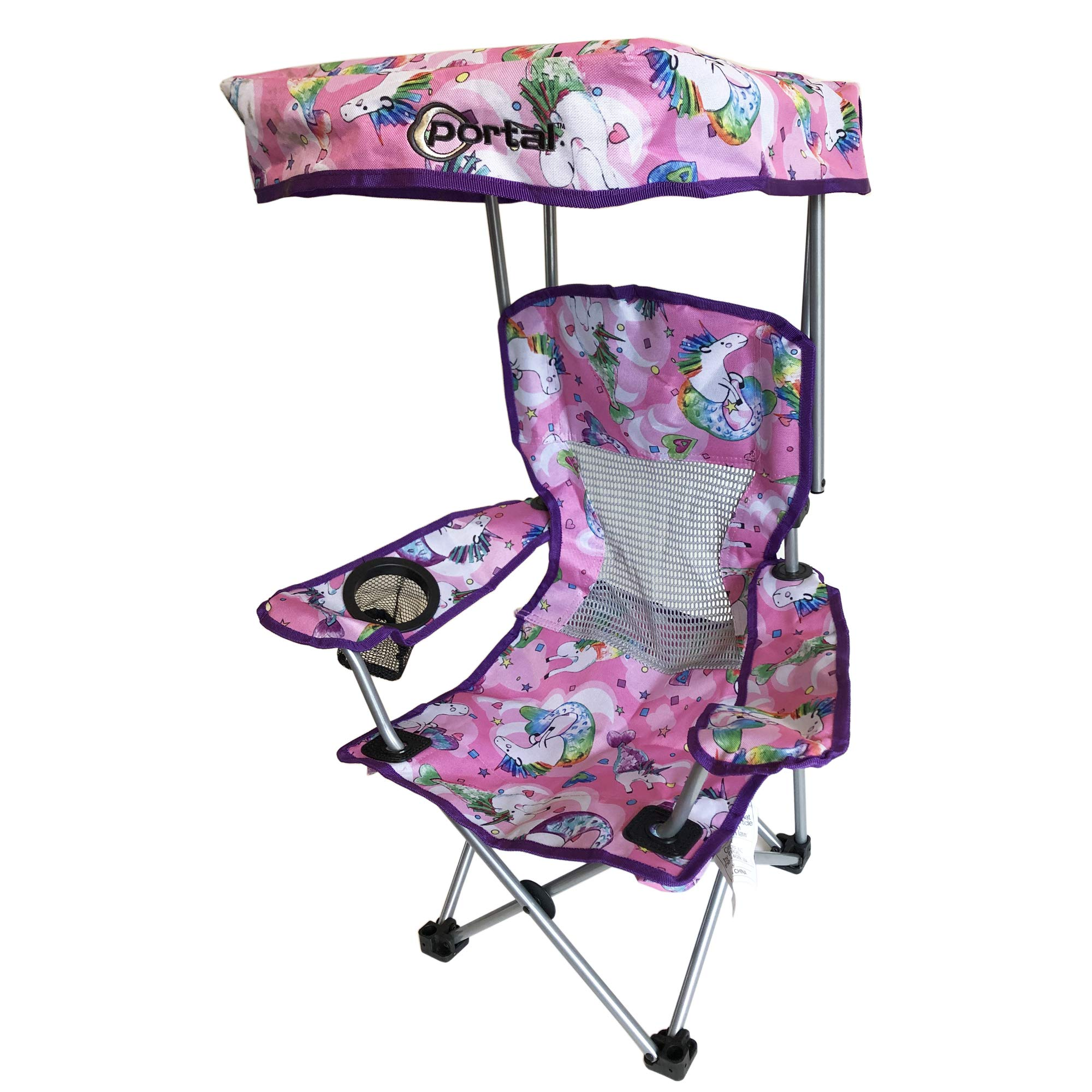Kid's Folding Chair with Canopy and Durable Carry Bag Purple Unicorn by Westfield Outdoor (Image #1)