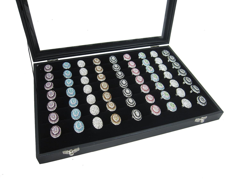 35x24cm Big Black Velvet Protable Jewelry Glass Top Lid Display Box for Ring Cuff Cufflinks