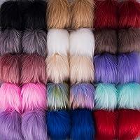 SIQUK 30 Pieces Faux Fur Pom Pom Balls Faux Fox Fur Pom Poms Fluffy Pom Pom with Elastic Loop for Hats Scarves Gloves…