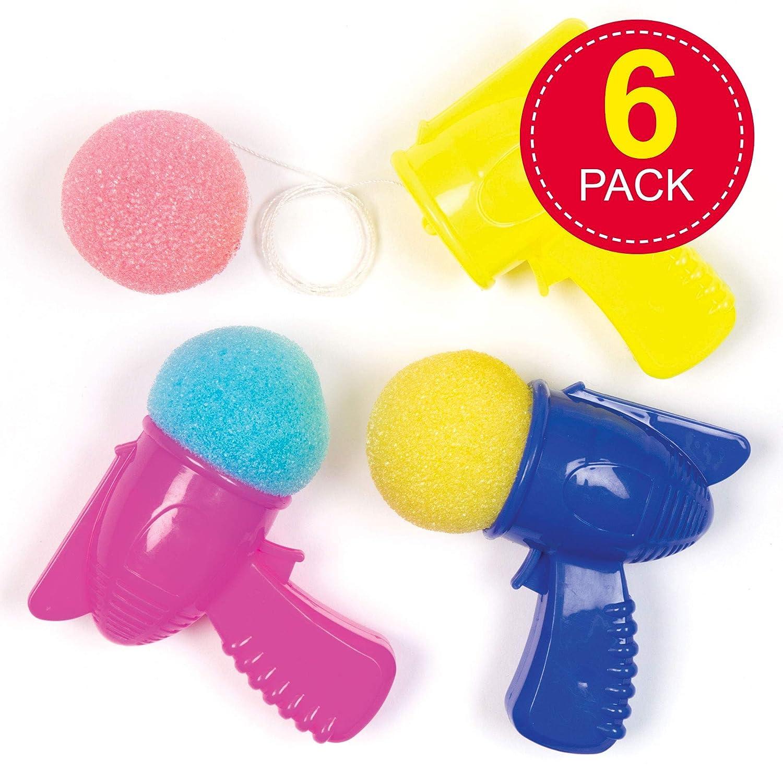 Baker Ross Pistole Spaziali Lanciaspugna per Bambini Gioco Adatto da Inserire in Mini Buste Regalo (Confezione da 6), Colori Assortiti