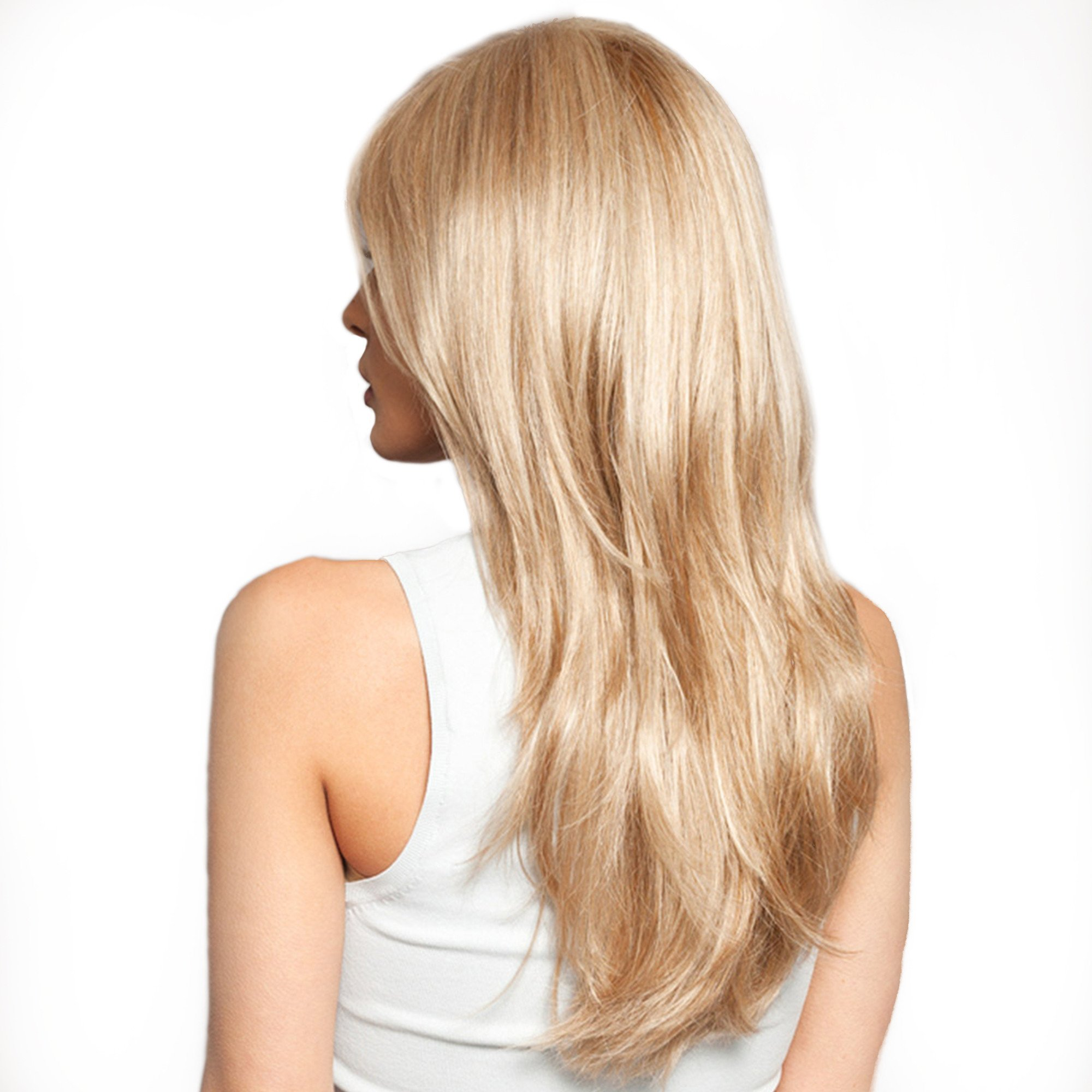 Women Brazilian Human Hair Blonde Color Long Natural Straight Side Bangs Blend Capless Daily& Wedding Wigs 24 Inches by Mufly (Image #2)