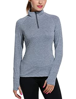 0a18dcb8ece21 ELESOL Women's Long Sleeve Workout Tee Running Gym Sports T-Shirt Fast Dry