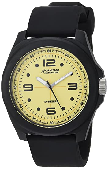 Armitron Adventure Mens AD/1012YLBKBK Luminous Dial Black Silicone Strap Watch
