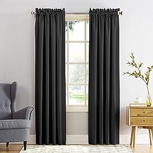 "Sun Zero Barrow Energy Efficient Rod Pocket Curtain Panel, 54"" x 84"", Black, One Panel"