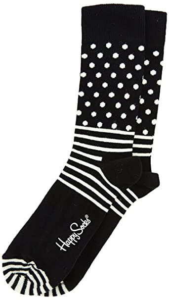 Happy Socks STRIPE DOTS-Calcetines Unisex adulto Noir (999) 41-46 (