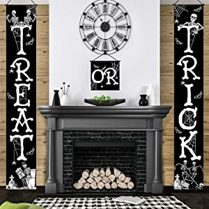 3 Halloween Decoration Set Halloween Trick Or Treat Banner Halloween Porch Sign Halloween White Skeleton Door Sign Banner Halloween Door Hanger for Halloween Home Outdoor Indoor Party Decorations
