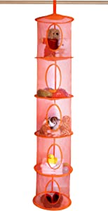"5 Tier Storage Organizer - 12"" X 59"" - Hang in Your Children's Room or Closet for a Fun Way to Organize Kids Toys or Store Gloves, Shawls, Hats and Mittens. Attaches Easily to Any Rod. (Orange)"