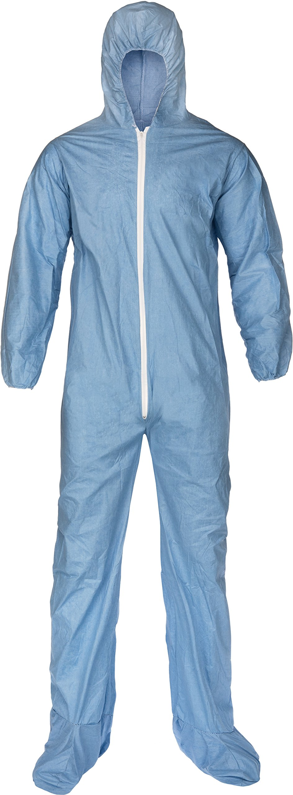 Lakeland Pyrolon Plus 2 Flame-Resistant Disposable Coverall with Hood and Boots, Blue, 3X-Large, Elastic Cuff (Case of 25)