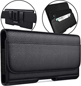 Meilib Galaxy S10 Plus Holster Galaxy S9 Plus / S8 Plus Belt Case - Leather Phone Pouch Case with Belt Clip Credit Card Holder for Samsung S10+/S9+/S8+ (Fits Phone w/Otterbox or Other Thick Case On)