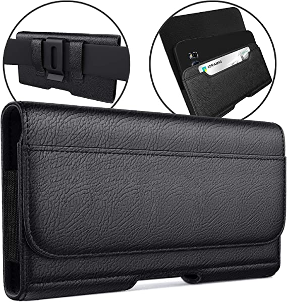 Meilib Belt Holster Case Designed for Samsung Galaxy S20 FE/ S10+ Plus Holster Galaxy S9+ Plus/ S8+ Plus Belt Case Phone Pouch Case with Belt Clip Credit Card Holder for Samsung Phone w/ Other Case On