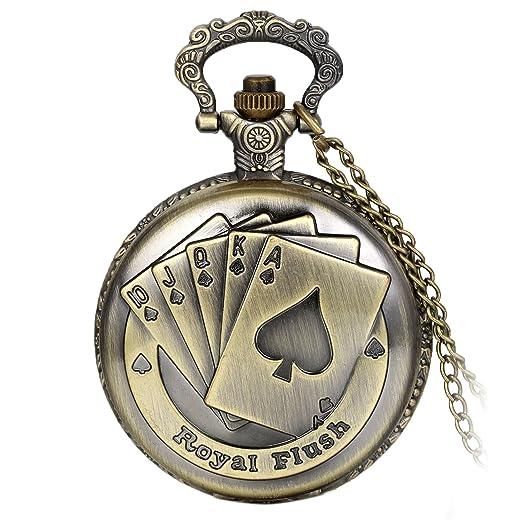 Avaner Reloj de Bolsillo Vintage Retro Póker Grabado para Buena Fortuna Royal Flush, Bronce Reloj Cuarzo con Cadena de 80CM, Buen: Amazon.es: Relojes