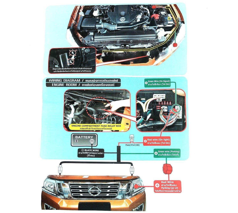 LED LED Daylight Chrome Headlight Lower Eyebrows Eyelid Cover Trim Nissan Navara Headlight Wiring Diagram on