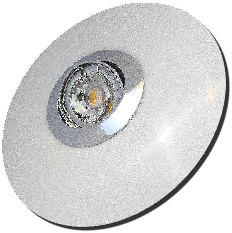 5 Stück MCOB LED Einbaustrahler Big Fabian 230 Volt 5 Watt Schwenkbar Chrom + Weiß Neutralweiß