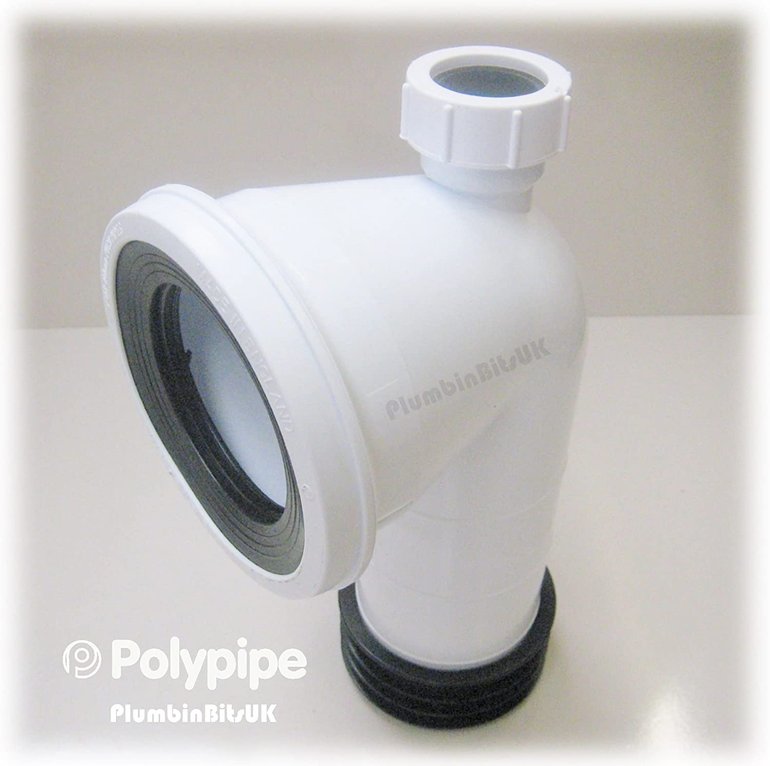 Polypipe Kwickfit 4' 110mm Bent 90 degree WC Toilet Pan Connector with 32mm 1-1/4' Boss Inlet White SK49