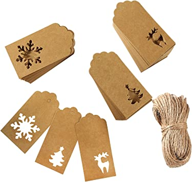 White Aneco 150 Pieces Paper Tags Kraft Christmas Tags Hang Labels Christmas Tree Snowflake Reindeer Design for Christmas Gift Favor,DIY Arts and Crafts Wedding Supply with 30 Meters Twine