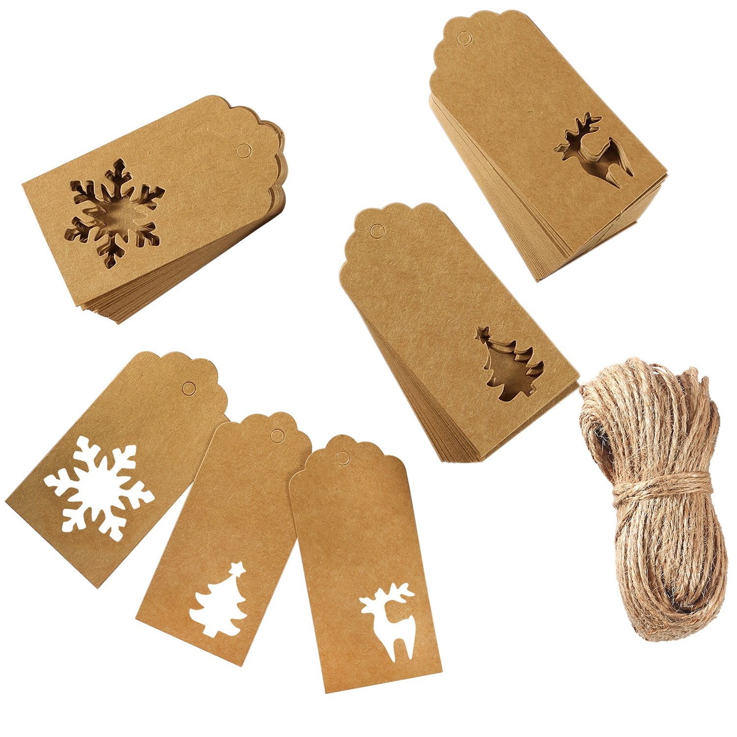 Aneco 150 Pieces Paper Tags Kraft Christmas Tags Hang Labels Christmas Tree Snowflake Reindeer Design for Christmas Gift Favor,DIY Arts and Crafts Wedding Supply with 30 Meters Twine (Brown)