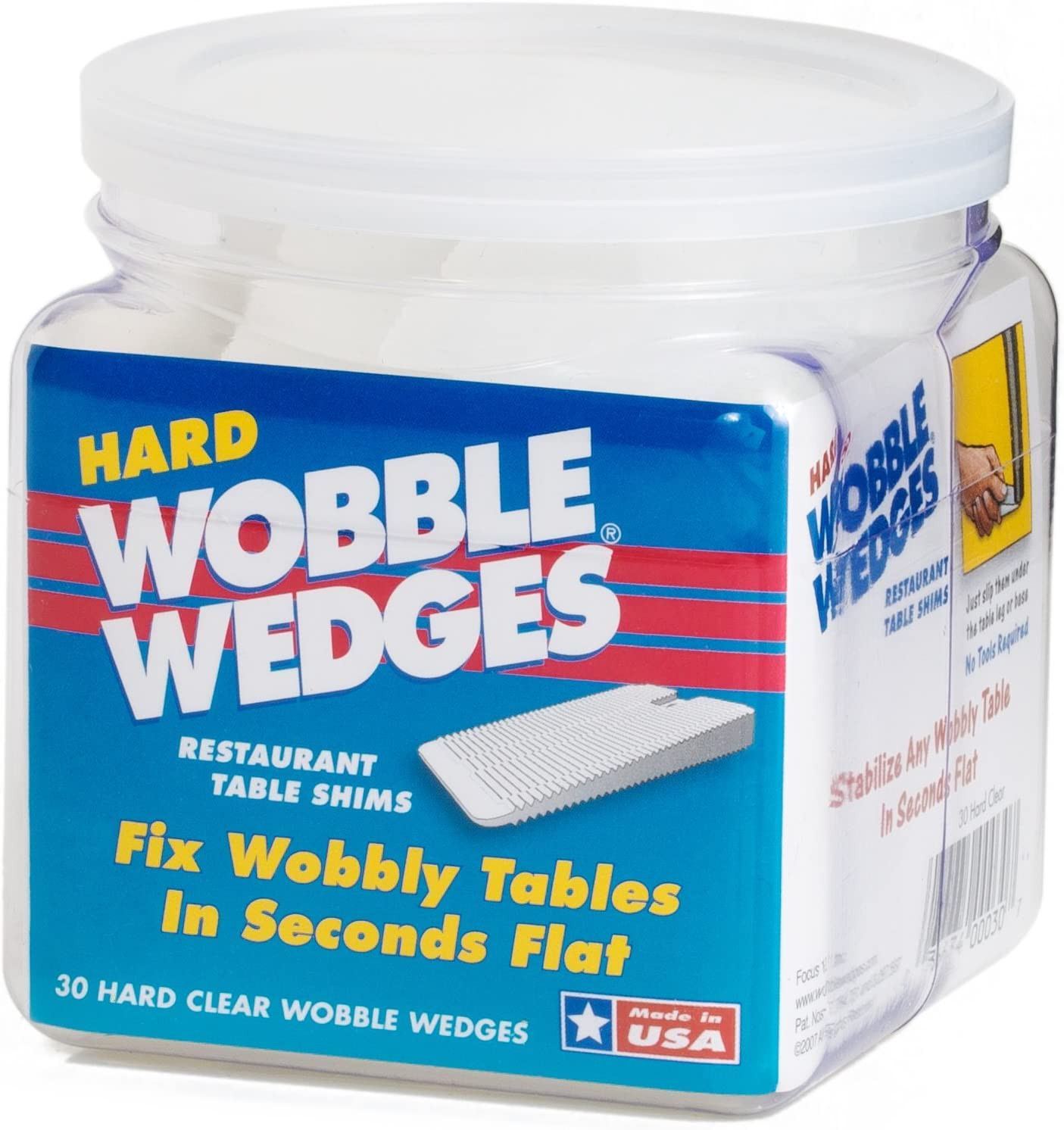 Wobble Wedge - Hard Clear - Restaurant Table Shims - 30 Piece Jar