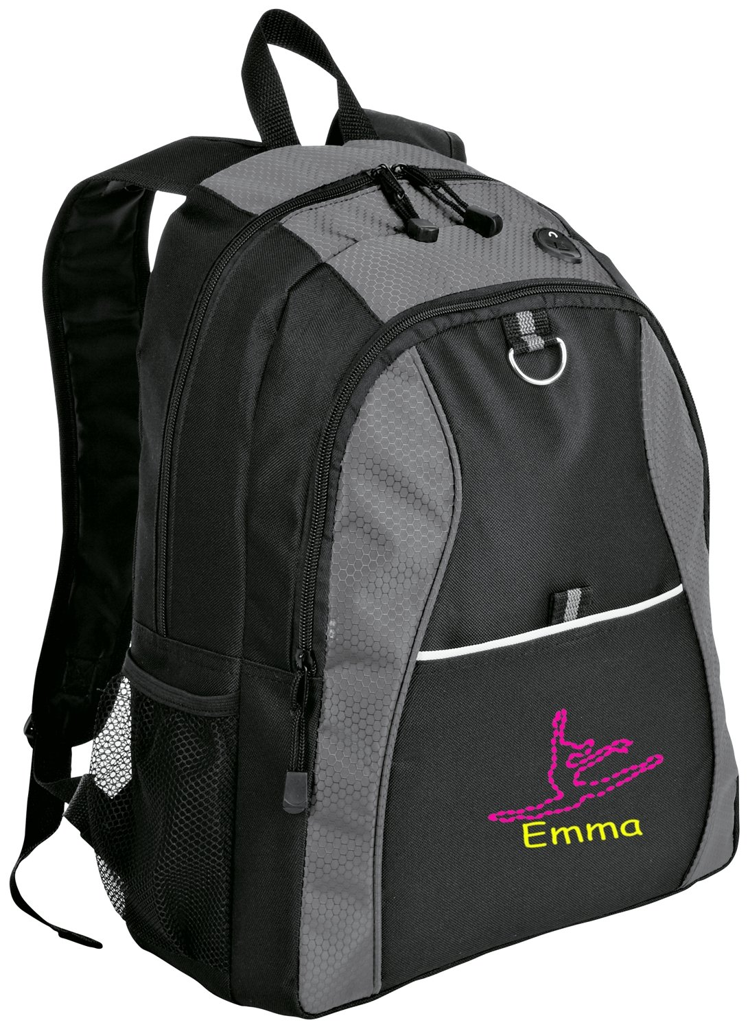 all about me company Contrast Honeycomb Backpack | Personalized Dance Book Bag (Grey/Black) by all about me company