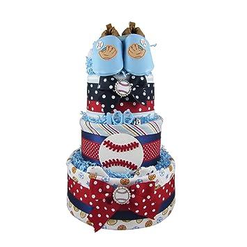Amazon.com: NYC pañales pasteles béisbol 3 niveles para ...