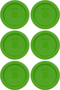 Pyrex 7202-PC 1 Cup Lawn Green Round Plastic Food Storage Lids - 6 Pack