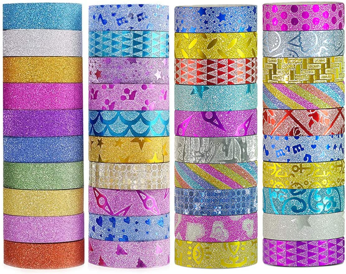Amazon Com Diy Glitter Washi Tape Set 40 Rolls Craft Decorative Tape Great For Bujo Bullet Journal Accessories Scrapbook Arts And Crafts Projects,Personal Paper Shredders Walmart