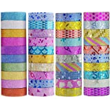 Washi Tape Set Glitter Masking Tape for DIY Craft Art Scrapbook Gift Wrapping 40 Rolls 3.5M