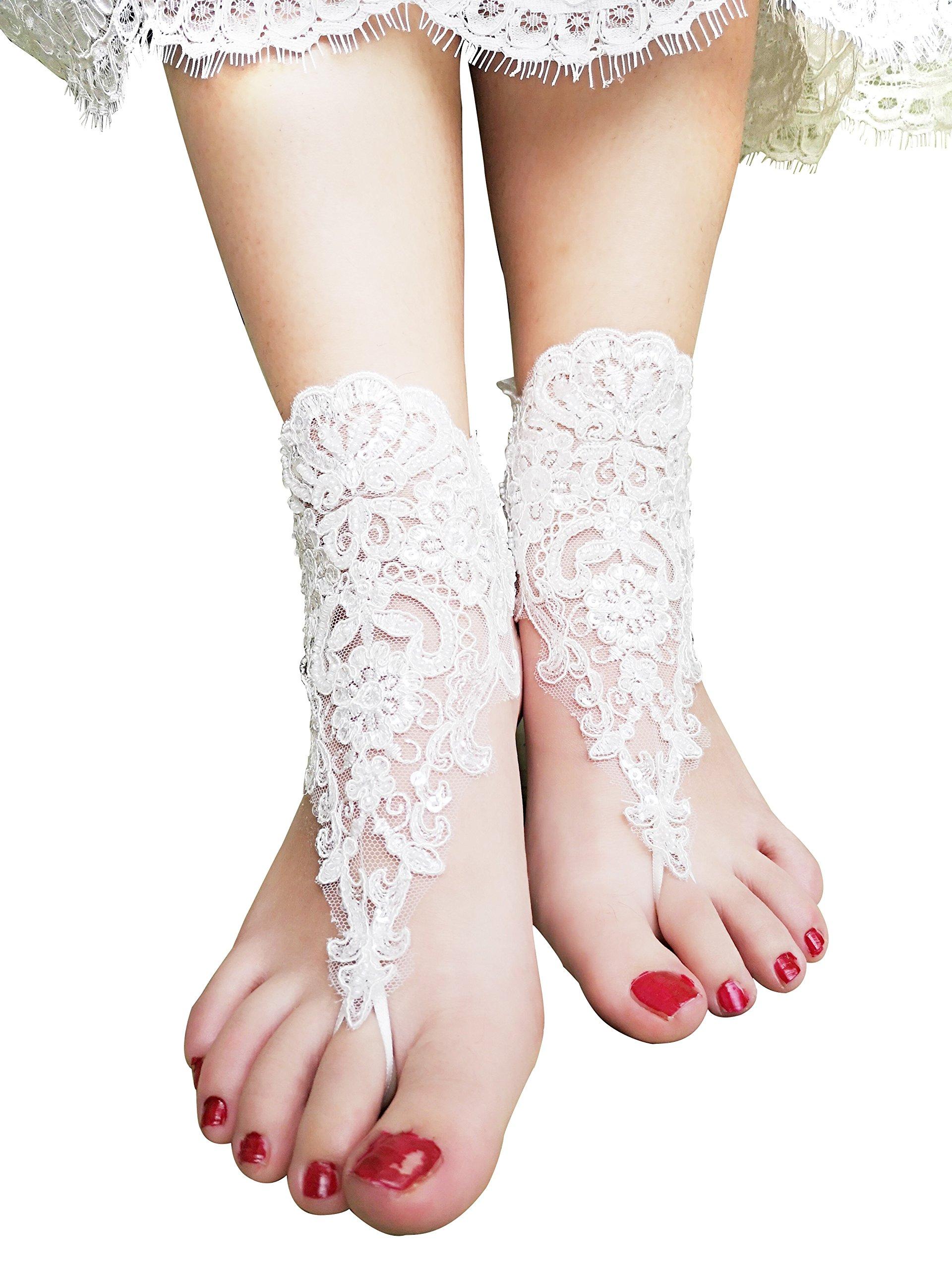 YuRong Lace Barefoot Footless Sandals Beachwear Boho Footwear F01 (Ivory)